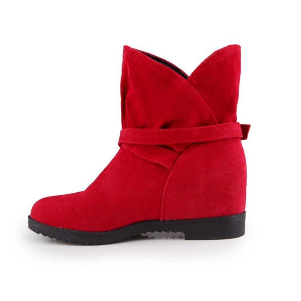 ZQ@QX Herbst und Winter runden Kopf Partei zu zu Partei haben den Aufstieg und vielseitiges Set von Pin weiblichen Studenten barrel Stiefel weibliche Stiefel ROT e40b9a