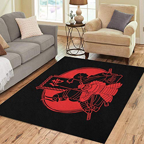 (Semtomn Area Rug 5' X 7' Japan Samurai Composition Flag Japanese Mean Designed on Sunlight Home Decor Collection Floor Rugs Carpet for Living Room Bedroom Dining Room)