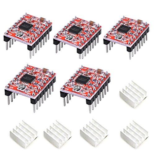 - HiLetgo 5pcs A4988 Stepstick Stepper Motor Driver Module with Heat Sink for 3D Printer Reprap Suitable for Mendel Huxley Arduino