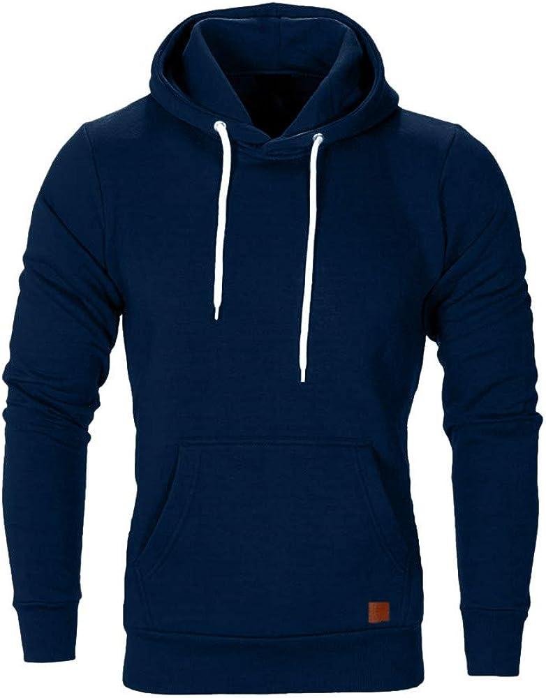 Mens Basic Solid Pullover Tops Long Sleeve Fleece Hoodie Hooded Sweatshirt with Kanga Pocket