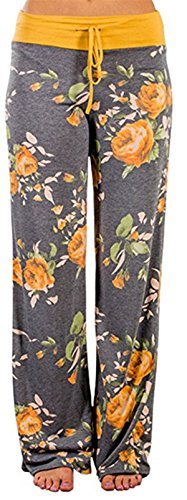 Sexymee Women's Comfy Stretch Floral Print High Waist Drawstring Palazzo Wide Leg Pants -