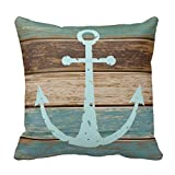 Nautical Anchor Weathered Wood Coastal Themed Polyester #078 Cotton Linen Decorative Throw Pillow Case Pillow Cover1818 Inch 4 Pack