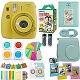 Fujifilm Instax Mini 9 Camera (USA) + Accessories kit for Fujifilm Instax Mini Camera Includes Instant Camera + Fuji Instax Film (20 PK) Case + Frames + Selfie Lens + Album and More (Yellow)