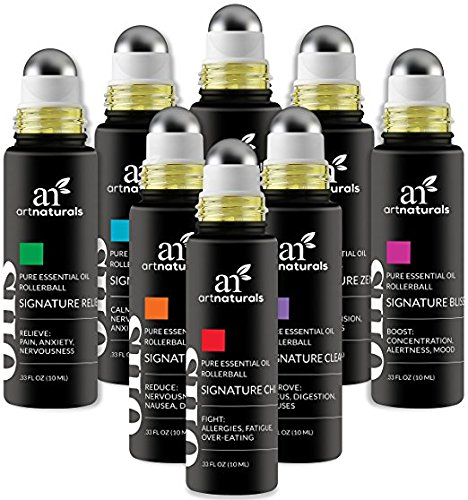 ArtNaturals Top 8 Aromatherapy Essential Oil Blend Roll On 10ml Set - Blends Assists with Sleep, Headache, Calming, Moods & More. Blended with Jojoba Oil for Skin Nutrition by ArtNaturals