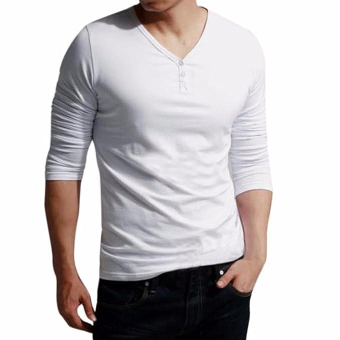 LMMVP Camiseta de los Hombres Moda Cuello en V Manga Larga Sólido Ajustado Básica Casual Manga