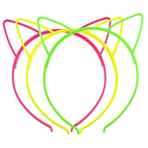 Lux Accessories Shades of Neon Cat Ear Headband For Girls Party Favor Set - Shade Stores Clothing