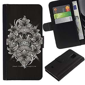 Paccase / Billetera de Cuero Caso del tirón Titular de la tarjeta Carcasa Funda para - Black White Skull Floral Death Bones - Samsung Galaxy S5 Mini, SM-G800, NOT S5 REGULAR!