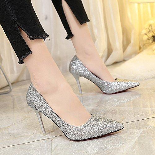 Presidente Carrera superficial zapatos de mujer boca hembra solo zapatos con punta fina, plata y 38