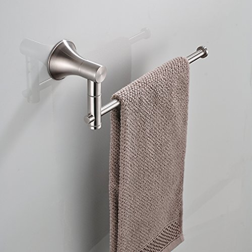 BESy Self Adhesive Single Towel Bar 10-Inch with Swing out arms, Drill Free with Glue or Wall Mounted with Screws, SUS304 Stainless Steel, Brushed Nickel Finish by BESy (Image #7)
