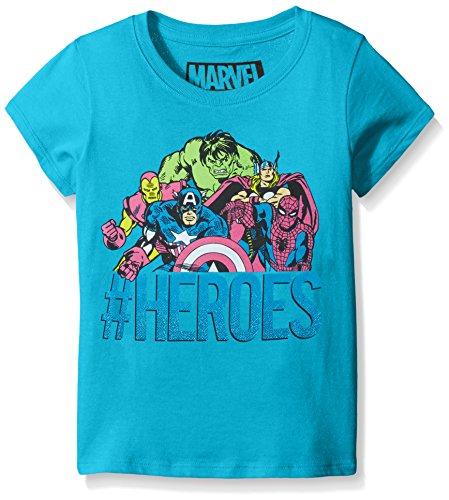 Marvel Little Girls' Captain America or Marvel Group Short Sleeve T-Shirt, Turquoise, Large/6