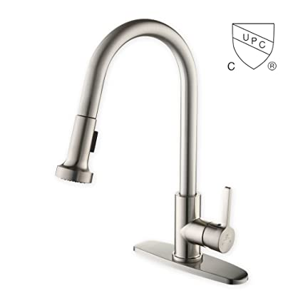 HOMELODY Commercial Brushed Nickel Kitchen Faucet, CUPC Certificated Kitchen  Faucets With Pull Down Sprayer,