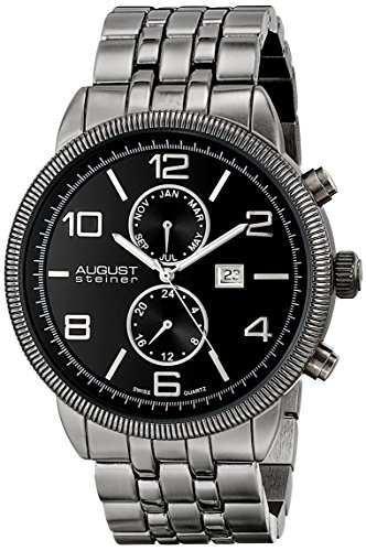 August Steiner Men's AS8069BLK Swiss Quartz Multifunction Watch with Black Dial and Gray Bracelet
