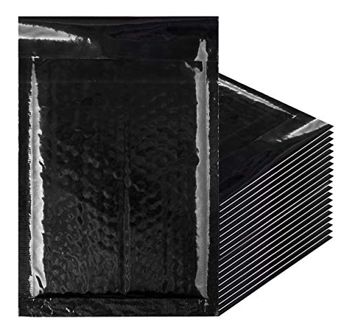 Amiff Bubble mailers 5x9. Padded envelopes 5 x 9. Exterior size 6.5 x 9.5 (6 1/2 x 9 1/2). Pack of 25 Black cushion envelopes. Peel & Seal. Halloween mailer. -