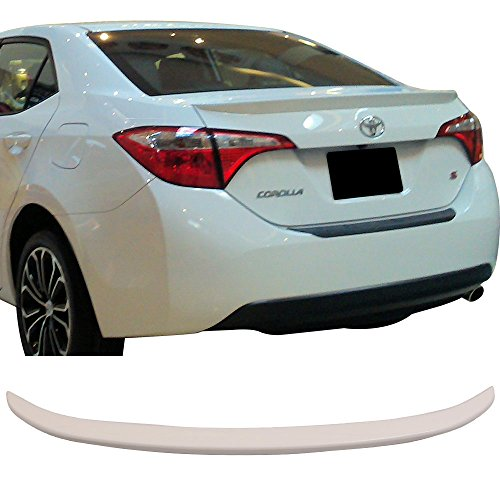 Pre-Painted Trunk Spoiler Fits 2014-2017 Toyota Corolla | Painted #040 Super White II OE Factory Style Rear Spoiler Wing by IKON MOTORSPORTS | 2015 2016