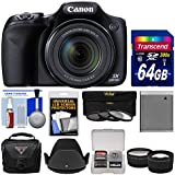 Canon PowerShot SX530 HS Wi-Fi Digital Camera 64GB Card + Case + Battery + 3 Filters + Tele/Wide Lens Kit