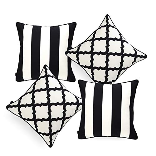(Hofdeco Indoor Outdoor Pillow Cover ONLY, Water Resistant for Patio Lounge Sofa, Black White Stripes Moroccan, 18