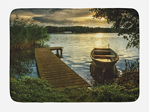 Lunarable Seascape Bath Mat, Boat at Lake Shore with Wooden Pier Sunset Sunbeams Romantic Evening, Plush Bathroom Decor Mat with Non Slip Backing, 29.5