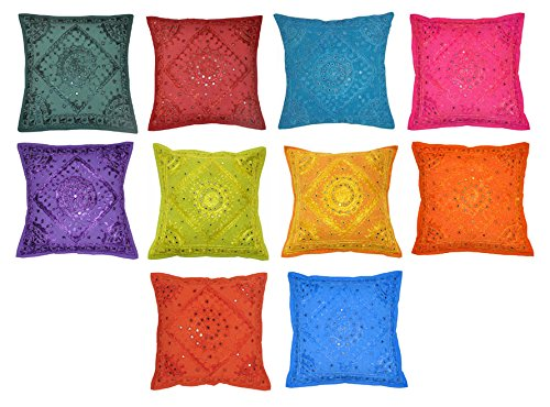 Square Shape Mirror Embroidery Design Cotton Cushion Cover 16 X 16 Inches ( 50 Pcs ) by Lalhaveli