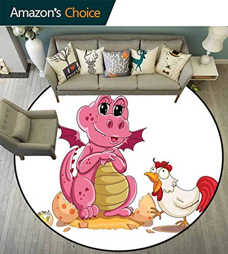 Jurassic Decor Round Rug pad,Illustration of Hen Chicken and Baby Dinosaur Wings Out from Egg Kids Childrens Print for Bedroom,D-51