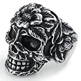 AmDxD Jewelry Stainless Steel Rings for Men Silver Gothic Punk Skull Black Vintage US 11