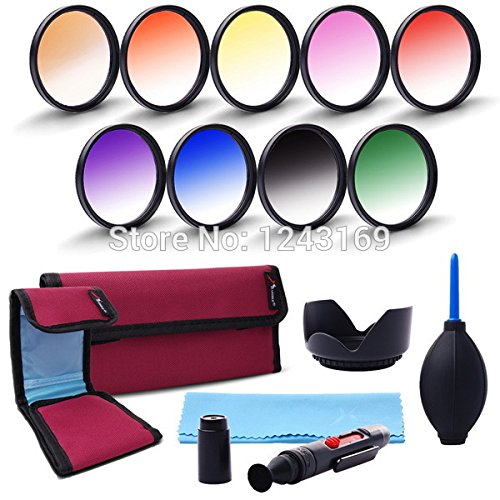 UltiSmart(TM) 52mm 9pcs Graduated Color Filter Kit For DSLR for Nikon D5200 D7100 D7000 18-55mm More Colors With Lens Hood LF496