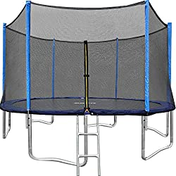 ORCC 15FT 12FT Trampoline with Enclosure Net and Wind Stakes Rain Cover Ladder are Included Spring Pull T-hook 2018 Upgrade