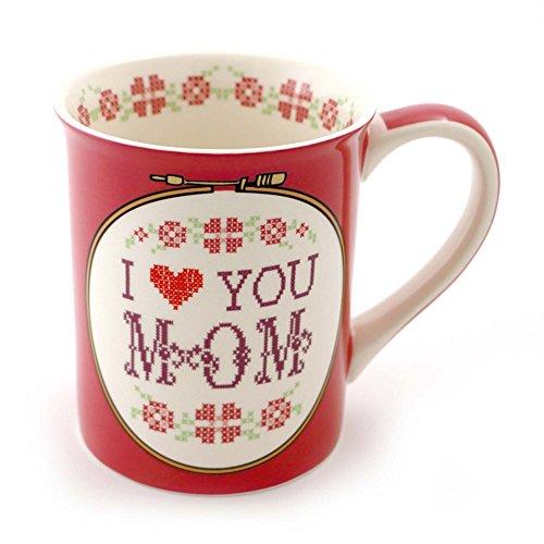 """Mug Love Mom - Our Name is Mud """"Cross Stitch Mom"""" Stoneware Coffee Mug, 16 oz."""