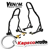Venom Sport Bike Motorcycle Front Fork & Rear Paddle Combo Wheel Lift Stands Paddock Stands Universal Motorcycle Combo Yamaha Fits Honda Kawasaki Suzuki Ducati BMW + KapscoMoto Keychain