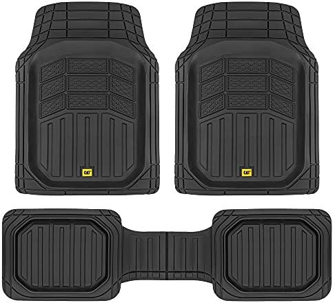 Caterpillar CAT CAMT-9013 (3-Piece) Deep Dish Rubber Truck Floor Mats, Trim to Fit for Car Truck SUV & Van, All Weather Total Protection Durable Liners Heavy Duty Odorless