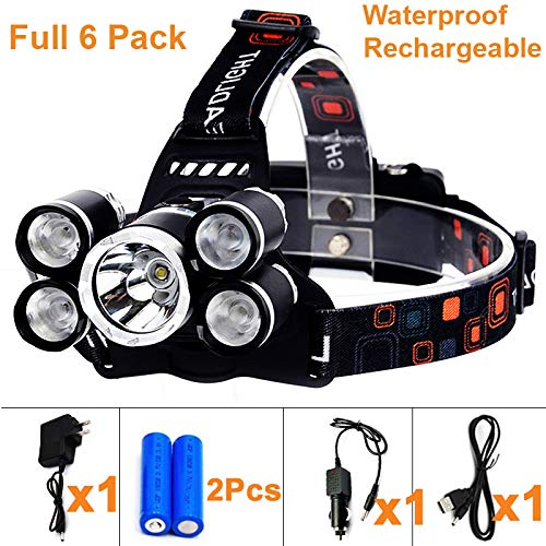 Tikka Headlamp 3 Led (Waterproof 18000 Lumen 5 Led Headlamp XML T6+Q5 Head Lamp Powerful Led Headlight + 2 18650 Rechargeable Batteries + Car Charger + Wall Charger + USB Charger for Outdoor Fishing Hunting)