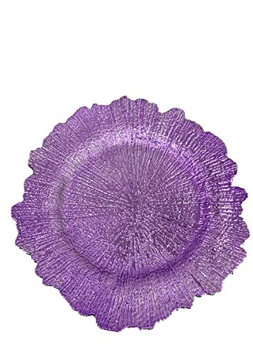 (USA Party Flower Elegant Plastic Reef Charger Plate, Set of 6 (13.5 inch) (Lilac))