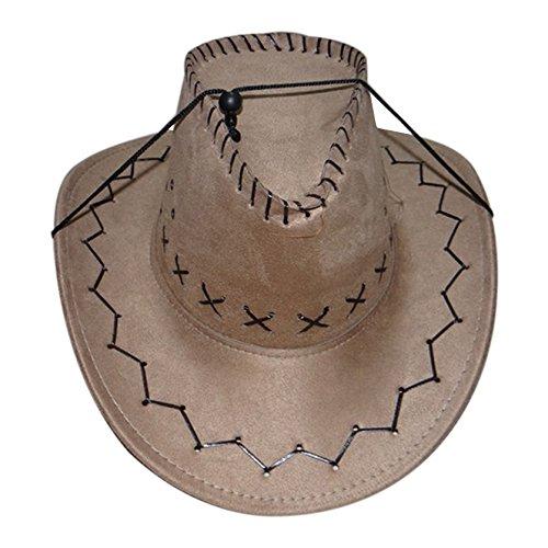 Wild Cowgirl Costumes (Cowboy Cowgirl hat - SODIAL(R) Retro Unisex Denim Wild West Cowboy Cowgirl Rodeo Fancy Dress Accessory Hats khaki)