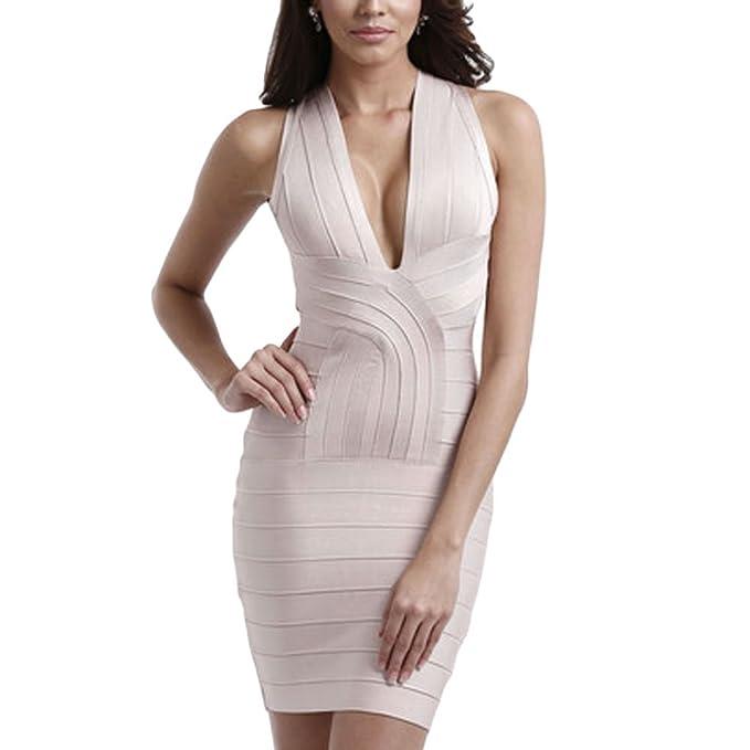 HLBandage Deep V Neck Halter Crossed Mini Bandage Dress(XS,Beige)