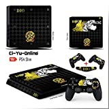 Ci-Yu-Online VINYL SKIN [PS4 Slim] JoJo's Bizarre Adventure Black Light Bar Whole Body VINYL SKIN STICKER DECAL COVER for PS4 Slim Playstation 4 Slim System Console and Controllers