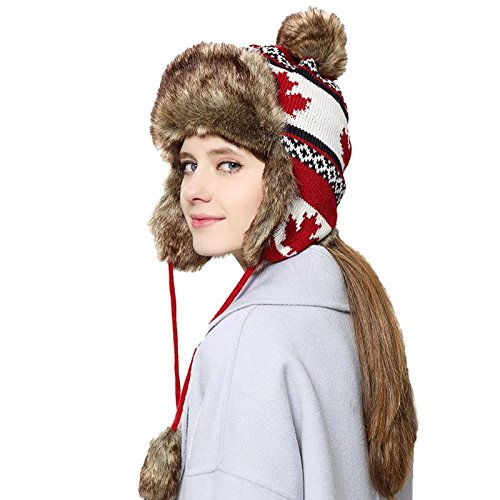 CANON LOG CABIN Baltic Trapper Winter Ski Cap Soft Faux Fur Trooper Bomber Ushanka Hat (all maple) by CANON LOG CABIN