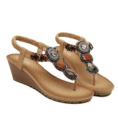 Tongshi Verano vendimia de las mujeres sandalias de la playa de la manera rebordeó las sandalias de zapatos de las mujeres marrón