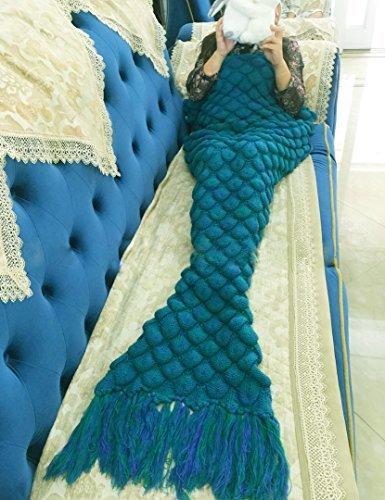 "Handmade Knitted Mermaid Tail Blanket Crochet,T-tviva All Seasons Warm Bed Blanket Sofa Quilt Living Room Sleeping Bag for Kids and Adults (72.8""x35.5"", Tassel Green)"