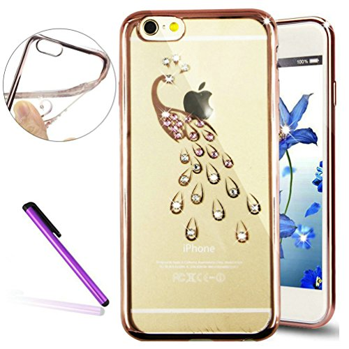 "Stylish 6S Plus Case,iPhone 6 Plus Case,EMAXELER Bling Swarovski Crystal Rhinestone Diamond Case for iPhone 6S Plus,Plating Frame Flexible TPU Case for iPhone 6 Plus/6S Plus Plus(5.5"")Peacock[Rose]"