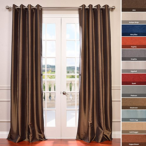 picture of Grommet Blackout Faux Silk Taffeta Curtain, Mushroom (Brown)