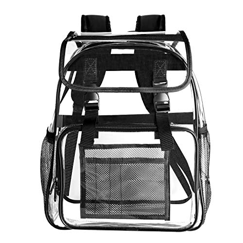 Bertar Clear Backpack Transparent Heavy Duty Student Bookbag For School Work ()