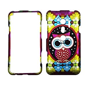New Colorfull Star Owl Htc Evo V 4g Virgin Mobile, EVO 3d Sprint Case Cover Hard Phone Case Snap-on Cover Rubberized Frosted Matte Surface Hard Shells