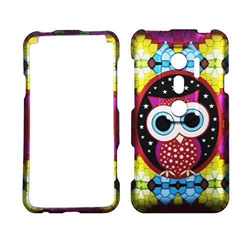 2D Colorful Owl HTC Evo V 4G Virgin Mobile, EVO 3D Sprint Case Cover Hard Phone Case Snap-on Cover Rubberized Touch Faceplates (Htc Evo V 4g Case Virgin Mobile)