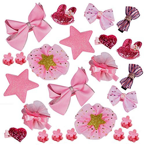 Yazer 24pcs Mix Style Unique Handmade Barrettes Hair Clip Set for Girls Baby Kids Toddlers with Elegant Gift Box (Pink)