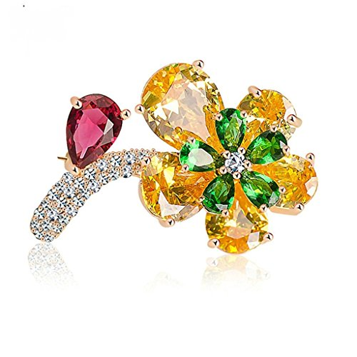 Beydodo Rose Gold Plated Brooch Pin For Women Floral Corsage Bouquet Green Yellow Flower Cubic Zirconia (Yellow 9k Brooch)