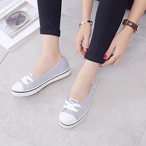 de Zapatos para Casual Gris Mujer Vovotrade Cuero q1xETwHxU