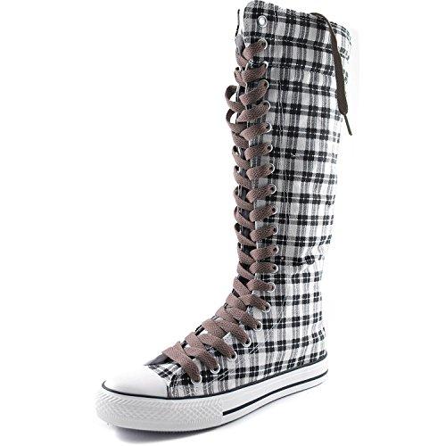 Dailyshoes Damesschoen Mid Kalf Lange Laarzen Casual Sneaker Punk Flat, Grijs Wht Geruite Laarzen, Licht Bruin Kant