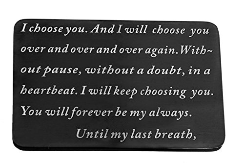 Laser Marking Stainless Steel Wallet Love Note Insert, Metal Wallet Card Insert i choose you until my last breath by CALIS