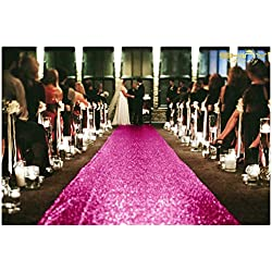 ShinyBeauty 4FTX15FT-Sequin Aisle Runner-Fuchsia Sparkly Carpet Runner for Wedding/Christmas/Thanksgiving Decor