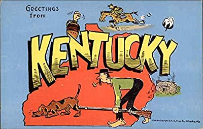 Greetings from Kentucky Maps Original Vintage Postcard