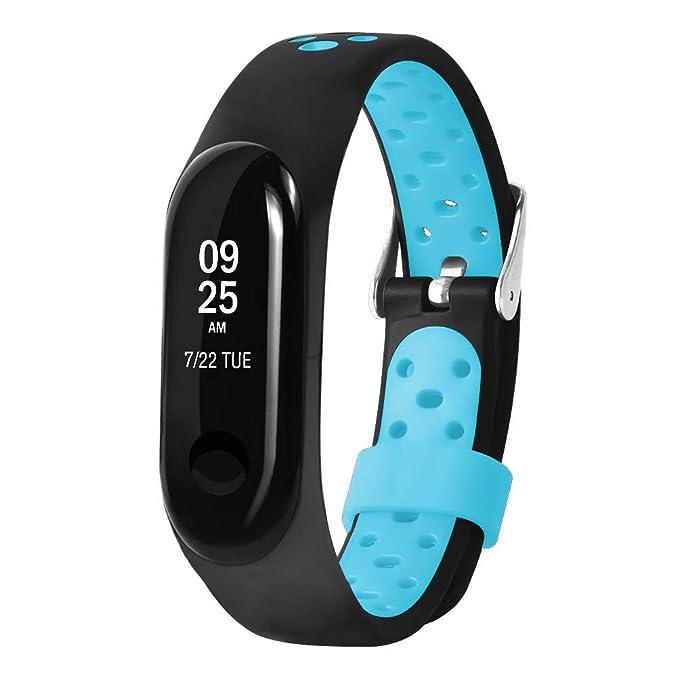 Pulsera Xiaomi Mi Band 3, Zolimx Suave de Silicona Sports Band para Xiaomi Mi Band 3 Original Correas de Reloj Inteligente Pulseras de Repuesto (Azul): ...